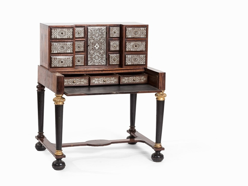 17th C. Rosewood and Tin marquetry writing desk