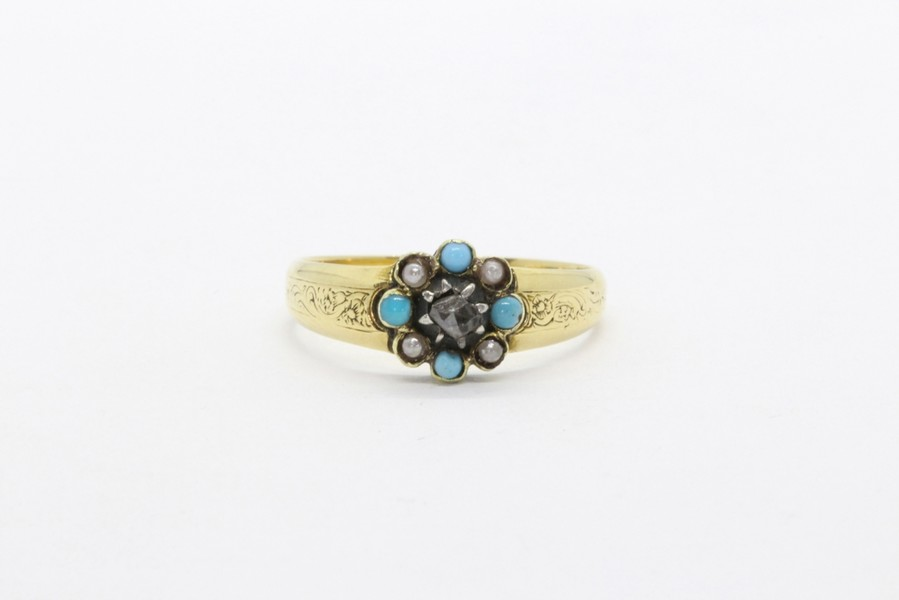 18k gold ring with turquoises and diamond