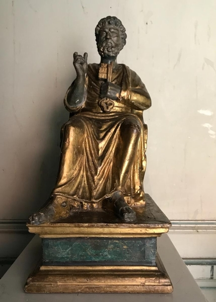 18th C. polychromed wooden Saint Peter sculpture