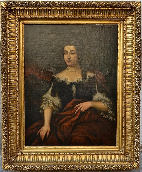 18th C. portrait - Gilded carved wood frame