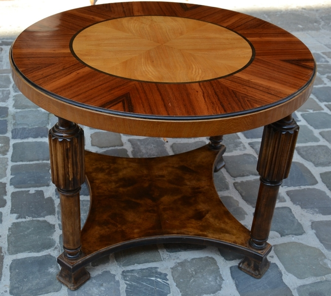 1930's Swedish Pedestal Table in wooden marquetry
