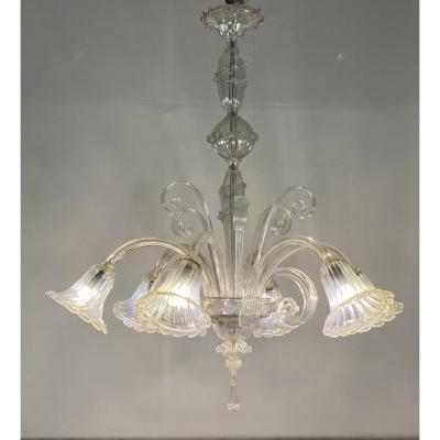 1940's Murano chandelier in transparent glass