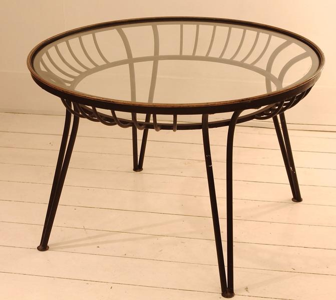 1950's Wrought Iron And Glass Coffee Table