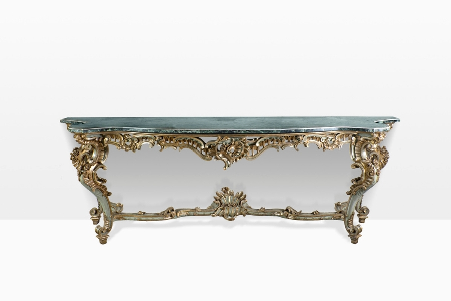19th C Console - Carved Painted Wood And Marble Top