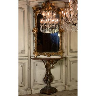 19th C. italian giltwood wood mirror and its console