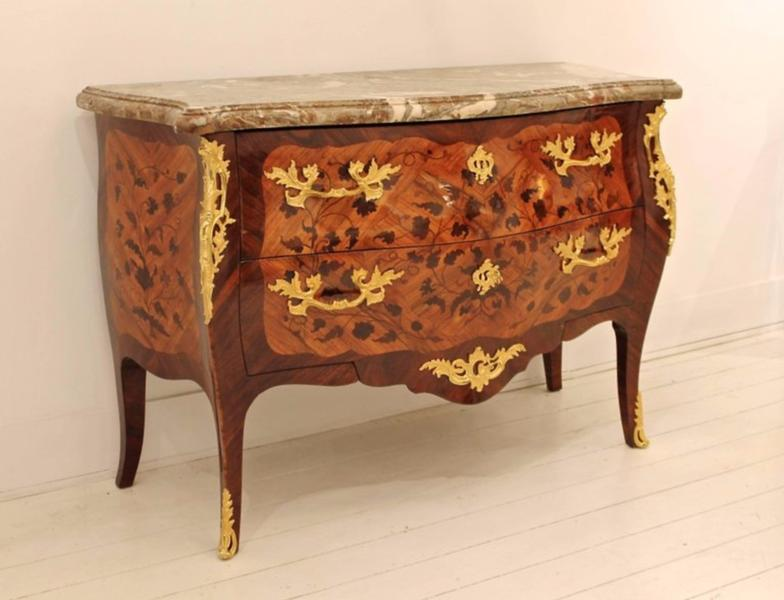 19th C. Louis XV Marquetry Chest of Drawers