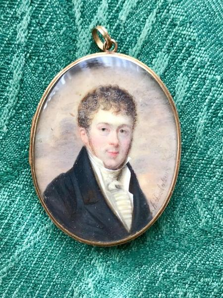 19th C. miniature signed portrait
