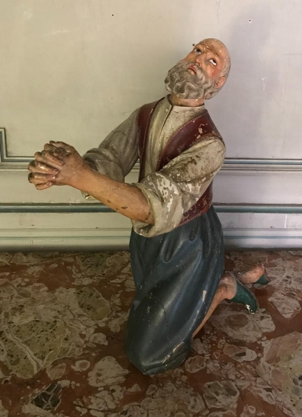 19th C. painted wood creche character