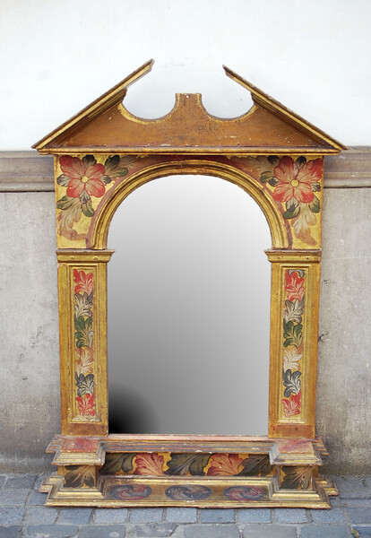 19th C. souther european mirror in painted and gilded wood