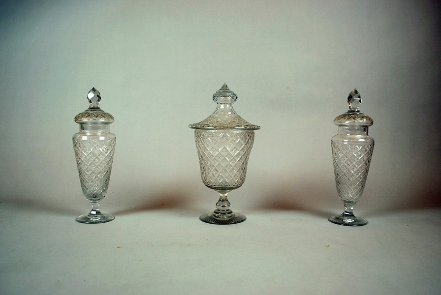 3 glass candy jars