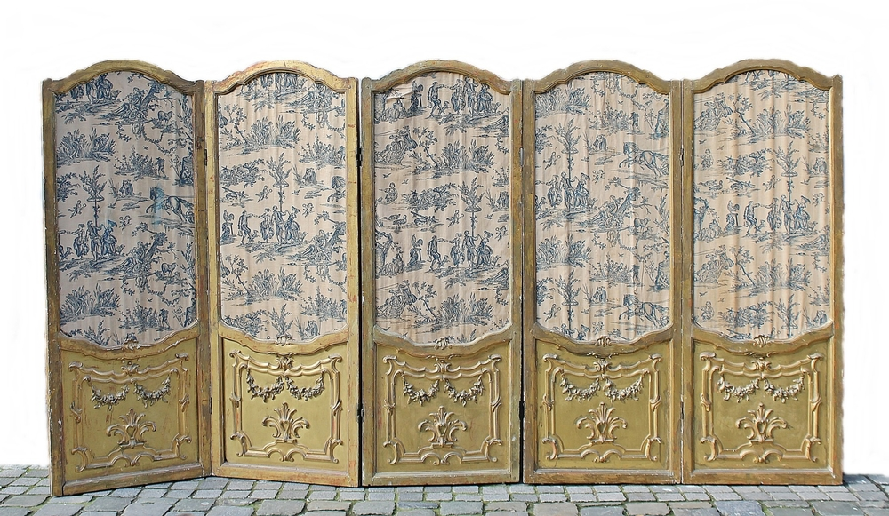 5 room divider panels, late 18th c., toile de jouy