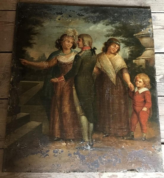 A family, 18th C. oil on canvas on panel