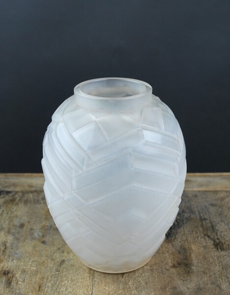 A. HUNEBELLE, Opalescent vase with chevron patterns