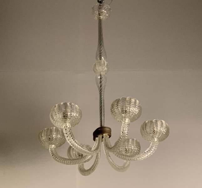 Art Deco Barovier Murano chandelier with 6 arms of light
