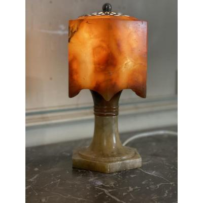 Art deco table lamp in alabaster and silvered metal