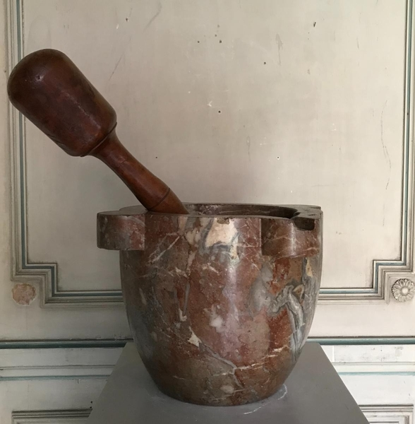 Belgian red marble mortar and pestle