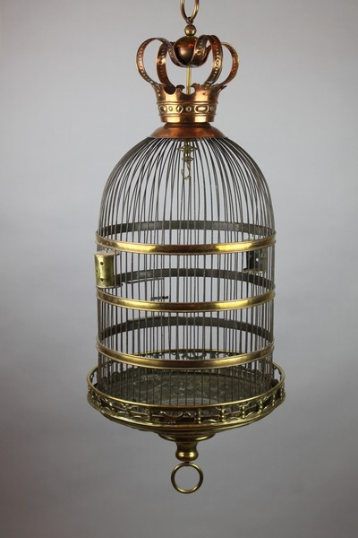 Bird cage in copper and embossed brass