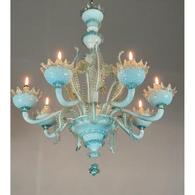 Blue and gilded Murano glass chandelier