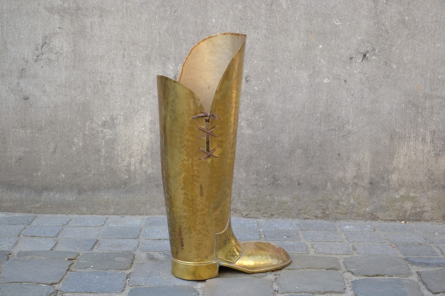 Boot Shaped Hammered Brass