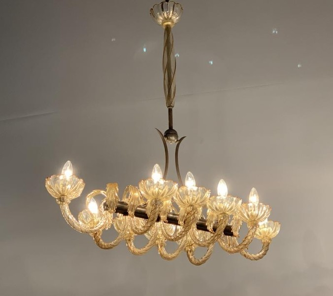 Brass and gilded Murano glass chandelier, 1940's