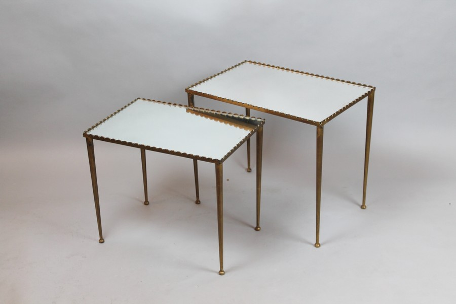 brass and mirror nesting tables