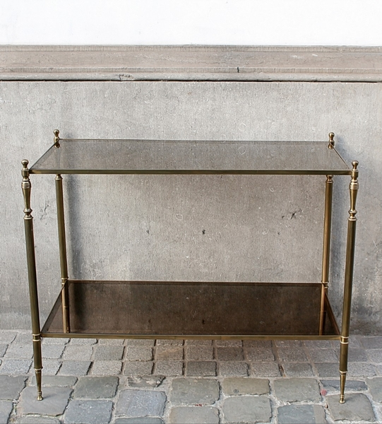 Brass and smoked glass console