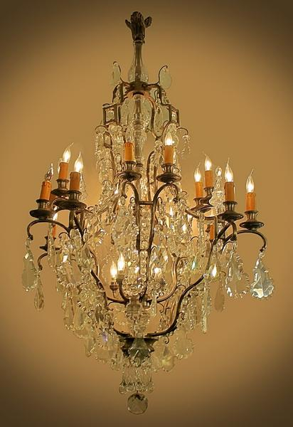 Bronze and glass pendant chandelier