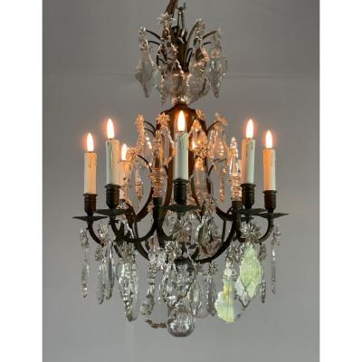 Bronze Chandelier Garnished With Cut Crystal Pendants