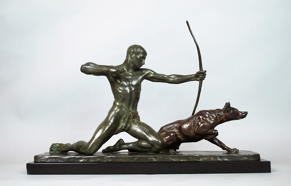 Bronze sculpture of a hunter and his dog, signed Louis Riché