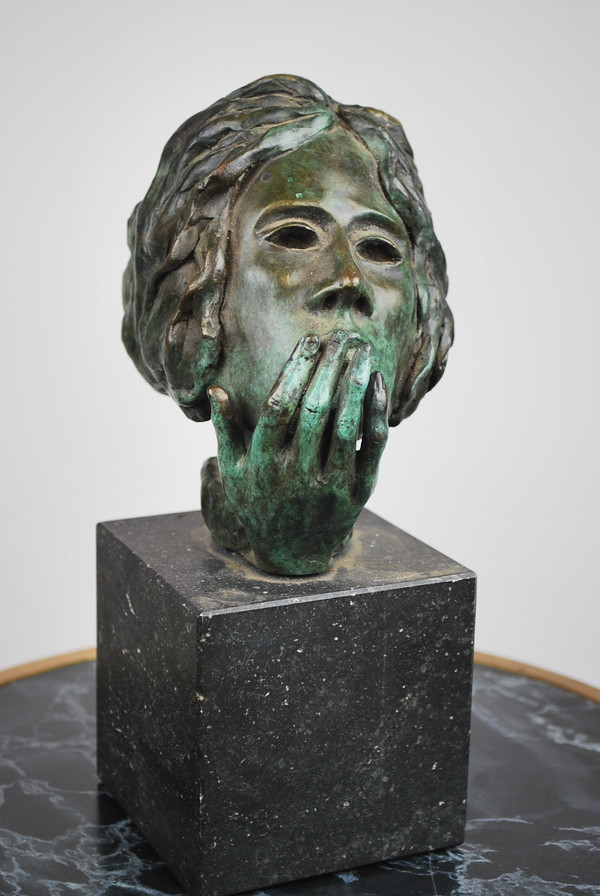 Bronze sculpture with green patina and marble base. Around 1950