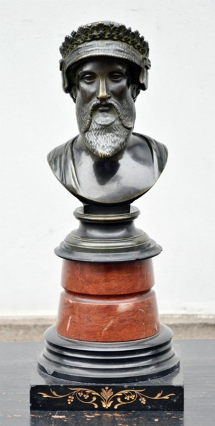 Bust of Darius in Bronze, Marble base, late 19th C