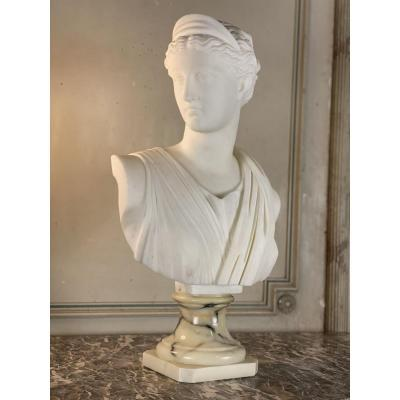 Bust Of Diana, White Statuary Marble Sculpture, Signed Pugi, Early 20th Century