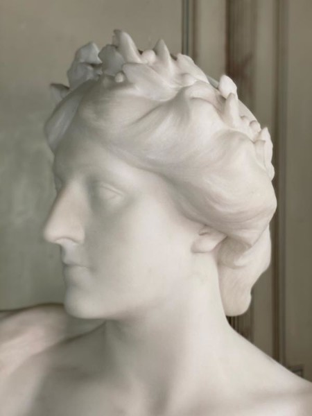Carrara Marble Bust, Signed Charles Samuel