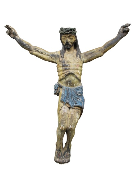 Carved and polychromed wooden Christ