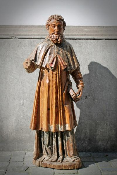 Carved wood spanish saint, 18th c.