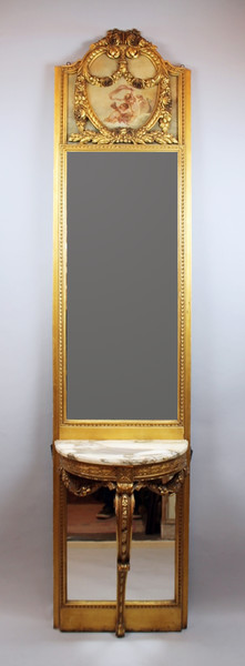Carved wooden console with mirrors and painting
