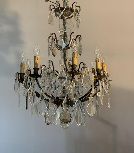 Chandelier 9 Arms Of Light Garnished With Cut Crystal Pendants