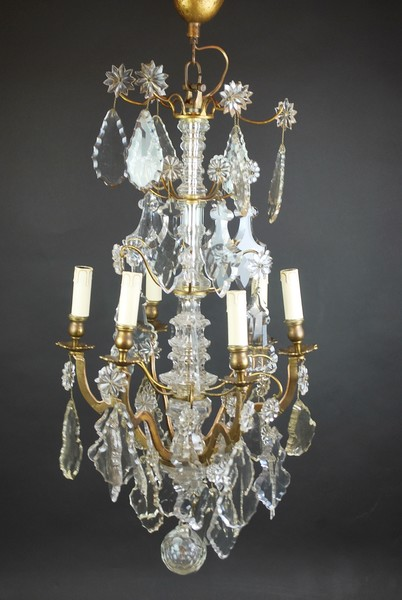 Chandelier with pendants, brass frame, 19th