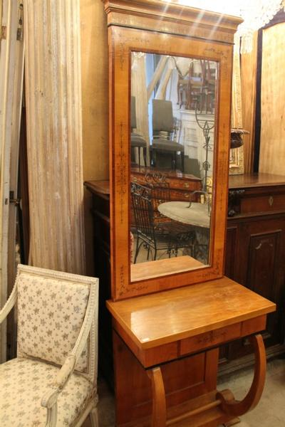 cherry tree biedermeier console mirror - early 19th C.