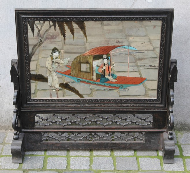 Chinese screen with painted scene on mirror