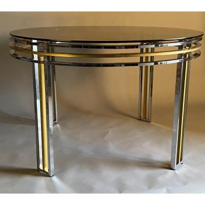 Chrome and brass 1980's dining table