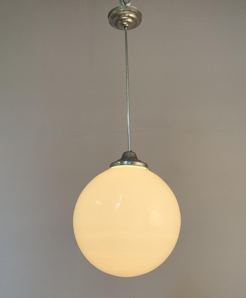 Chrome and large opaline globe chandelier