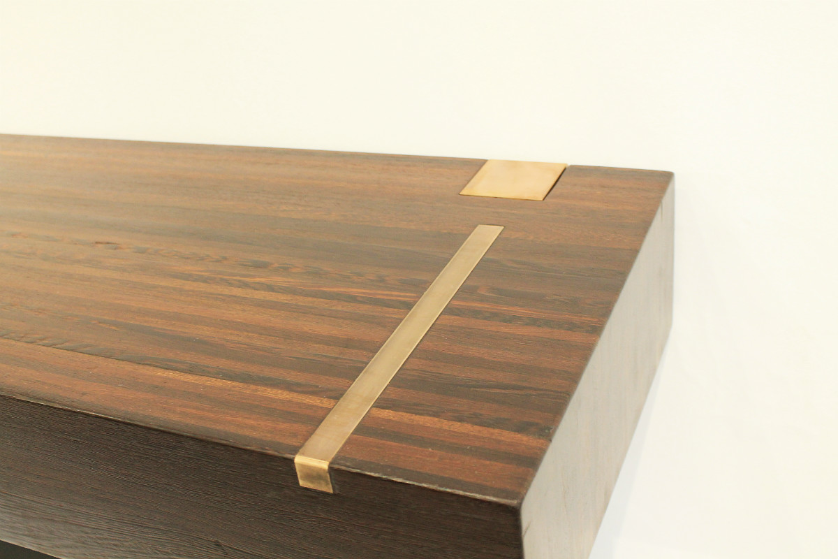 Console Table   Top In Wenge End Grain Wood