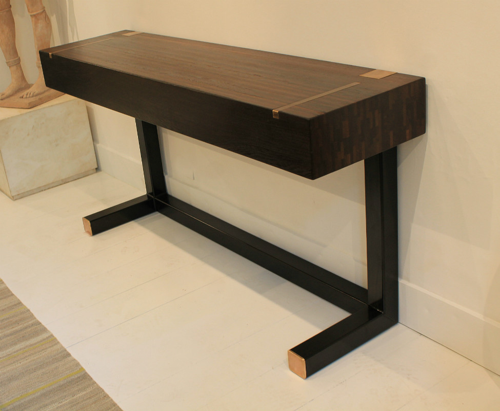Console table top in wenge end grain wood tables - Table de nuit wenge ...