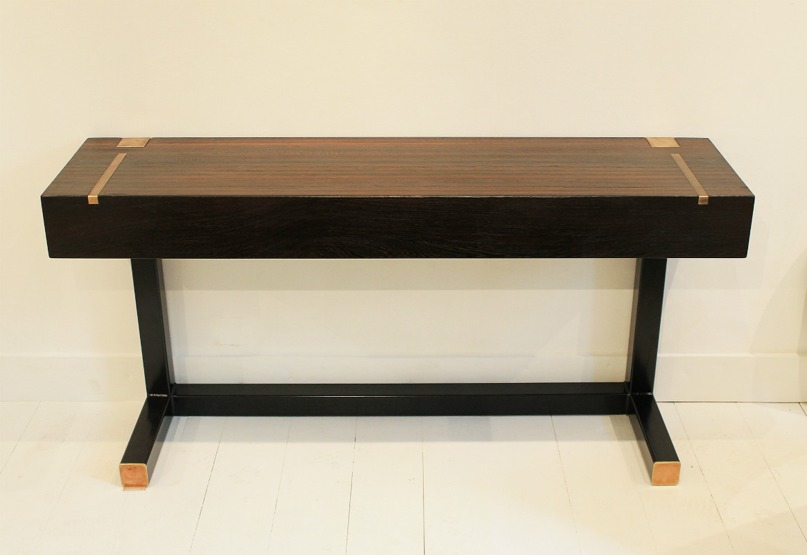 Console table top in wenge end grain wood tables for Table de nuit wenge