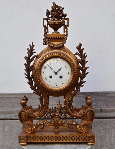 Early 20th C. Giltwood Clock in the Louis XVI style