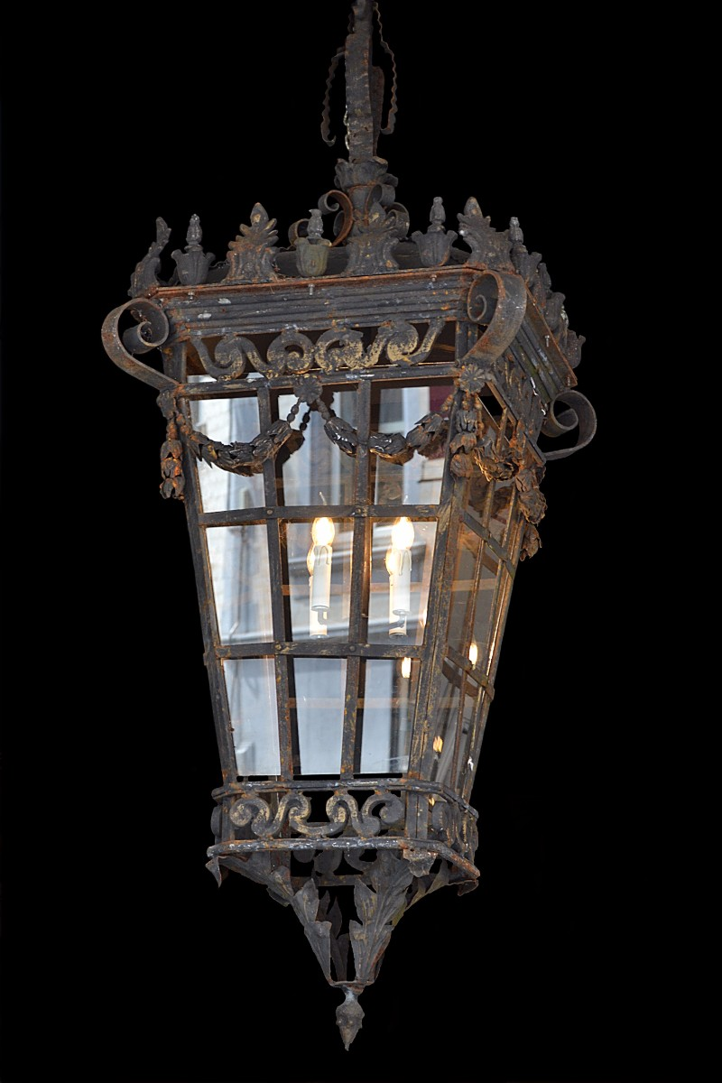 Early 20th c wrought iron lantern in the style of louis xvi early 20th c wrought iron lantern in the style of louis xvi chandeliers lighting galerie des minimes aloadofball Image collections