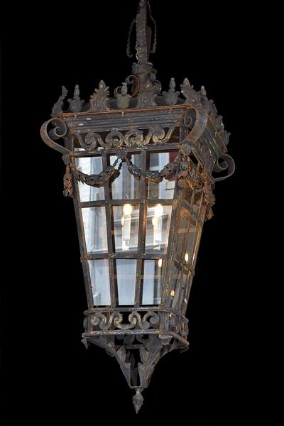 Early 20th C. Wrought Iron Lantern in the Style of Louis XVI