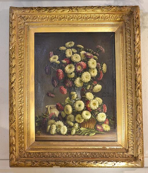Flowers painting, signed P De Vos, Gent 1885