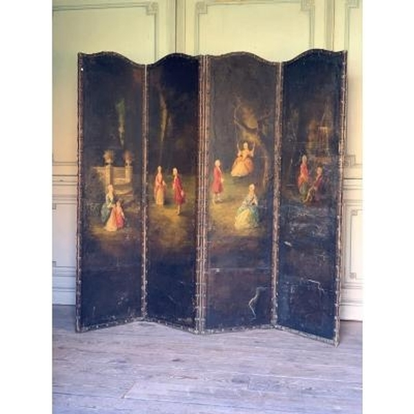 Four panels scree decorated with gallant scenes